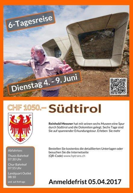 Südtirol 6 Tagereise Dienstag 4. - 9. Juni Flyer Rückseite bis Juni 2017