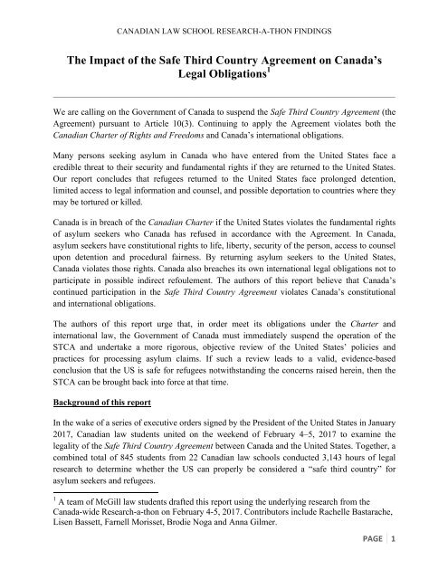 The Impact Of The Safe Third Country Agreement On Canadas Legal