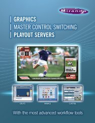 | Graphics | master control switching | playout servers
