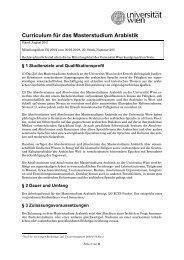 Curriculum für das Masterstudium Arabistik - Senat - Universität Wien