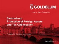 Goldblum Bosco pres. - Switzerland Protection of Foreign Assets and Tax Optimisation 2017