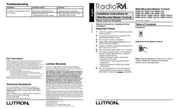 Installation Instructions for Wall-Mounted Master Controls - Lutron