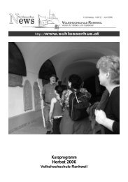 Kursprogramm Herbst 2006 - Volkshochschule Rankweil