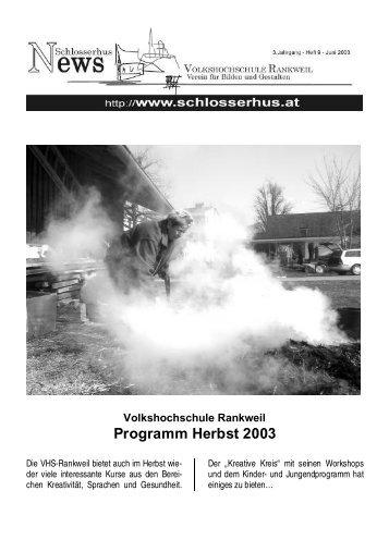 Programm Herbst 2003 - Volkshochschule Rankweil