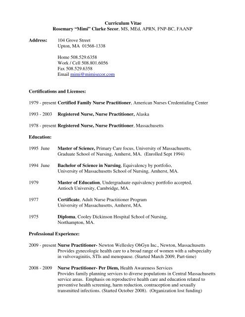 "Curriculum Vitae Rosemary ""Mimi"" Clarke Secor, MS, MEd, APRN"
