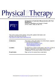 Comparison of Isokinetic Measurements with ... - Physical Therapy