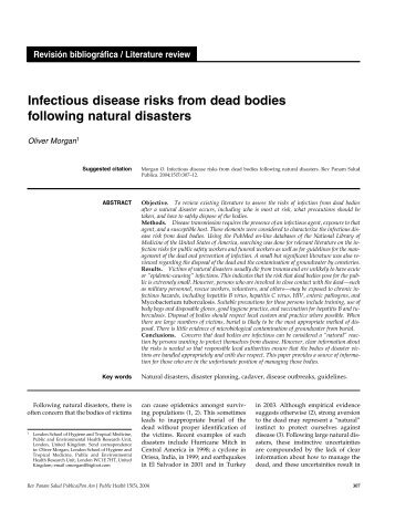 Infectious disease risks from dead bodies following natural disasters