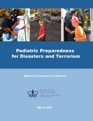 Pediatric Emergency Preparedness for Natural Disasters, Terrorism
