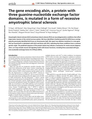The gene encoding alsin, a protein with three guanine-nucleotide ...