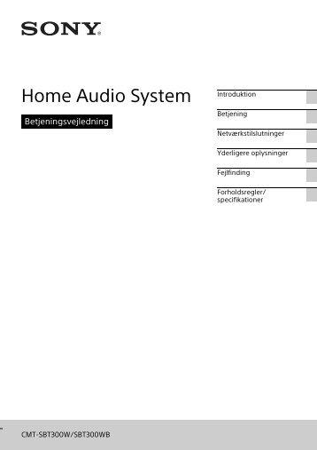 Sony CMT-SBT300WB - CMT-SBT300WB Mode d'emploi Danois