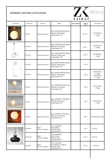 Catalogue list of modern lamps 2017 newest