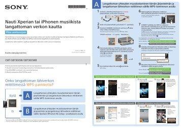 Sony CMT-SBT300WB - CMT-SBT300WB Guide de mise en route Finlandais