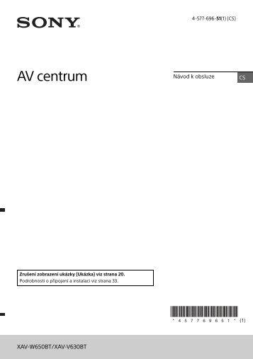 Sony XAV-W650BT - XAV-W650BT Istruzioni per l'uso Ceco