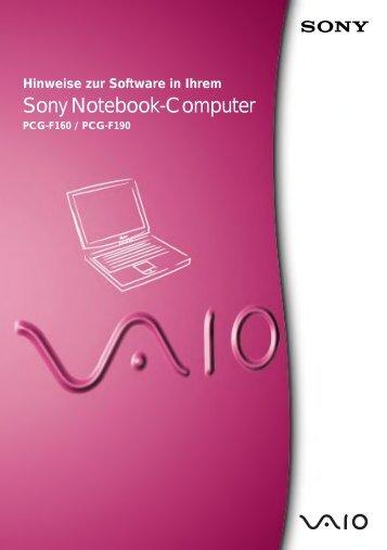 Sony PCG-F190 - PCG-F190 Manuel logiciel Allemand
