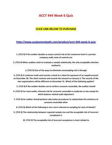 ACCT 444 Week 6 Quiz