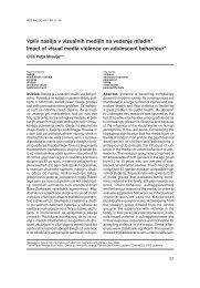 Vpliv nasilja v vizualnih medijih na vedenje mladih* Imact of visual ...