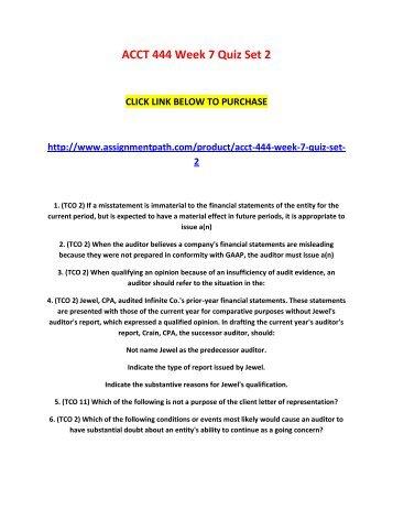 ACCT 444 Week 7 Quiz Set 2