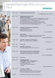 Agenda Planertage 2010 (Steiermark) Tag 1 - Siemens Österreich