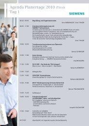 Agenda Planertage 2010 (Tirol) Tag 1 - Siemens Österreich