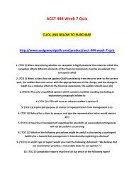ACCT 444 Week 7 Quiz