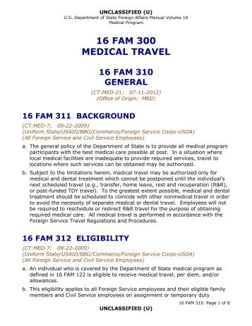 16 FAM 310 Medical Travel - General - US Department of State