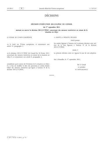 Décision d'exécution 2011/521/PESC du Conseil du 1er ... - EUR-Lex