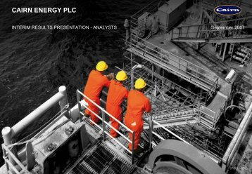 CAIRN ENERGY PLC - The Group