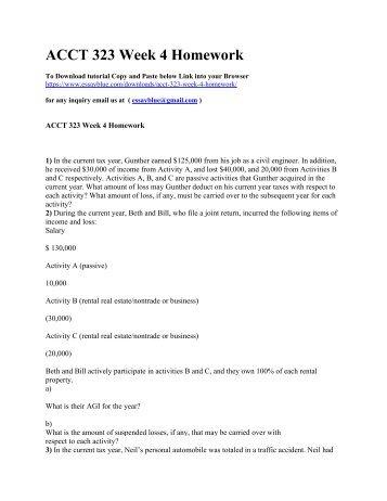 ACCT 323 Week 4 Homework