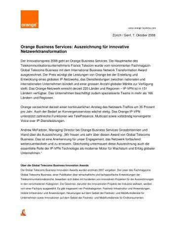 Orange Business Services: Auszeichnung für innovative ...
