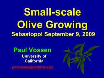 Presentation: Small Scale Olive Growing - Sonoma County
