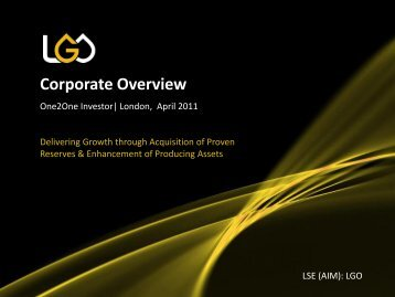 Leni Gas & Oil One2One Investor Presentation - Proactive Investors