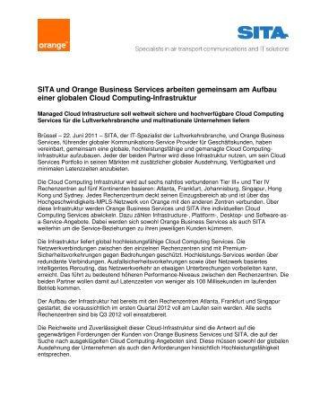 SITA und Orange Business Services arbeiten gemeinsam am ...