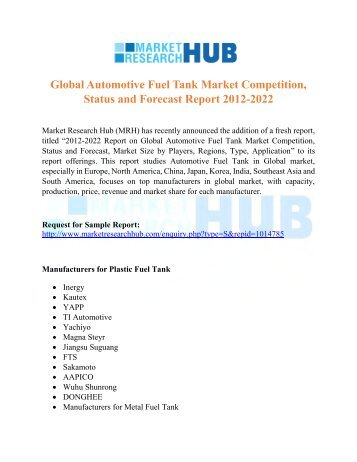 Global Automotive Fuel Tank Market Competition, Status and Forecast Report 2012-2022