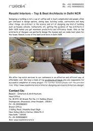 Resaiki Interiors – Top & Best Architects in Delhi NCR