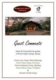 Porini Safari Camps Guest Comments