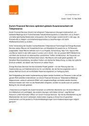 Zurich Financial Services optimiert globale ... - Orange Business