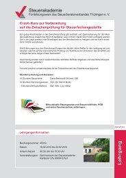 L ehrga n g - beim Steuerberaterverband Thüringen eV