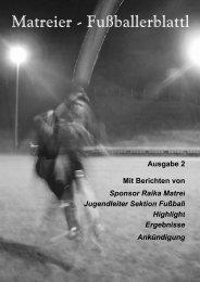Matreier - Fußballerblattl Matreier - Fußballerblattl - Vereinsmeier