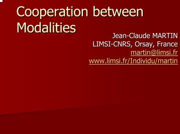 Cooperation between Modalities - eNTERFACE Workshops