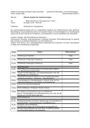 Aktuelle Aspekte der Arbeitssoziologie WS 06-07 - Institut für ...