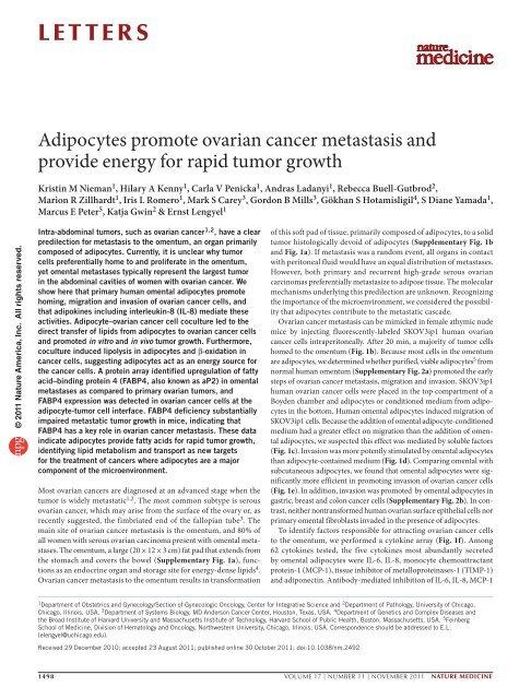 Adipocytes Promote Ovarian Cancer Metastasis And Provide Energy