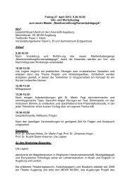 Musikvermittlung/Konzertpädagogik - Phil.-So. - Universität Augsburg
