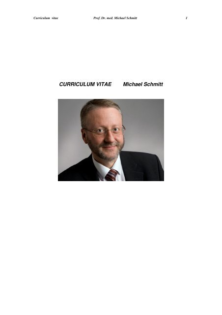 CV Prof. Dr. Michael Schmitt - Hämatologie und Onkologie Rostock