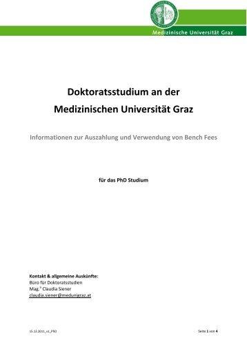 Doktoratsstudium an der Medizinischen Universität Graz ...