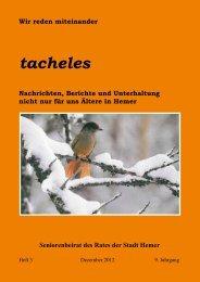 Tacheles: Novemberausgabe erschienen - Hemer