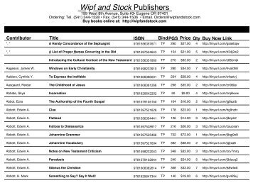 Wipf and Stock Publishers