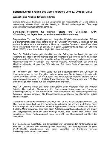 Bericht der Sitzung am 22.10.2012 - Seelbach