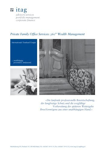 Private Family Office Services: 360° Wealth Management - itag.ch
