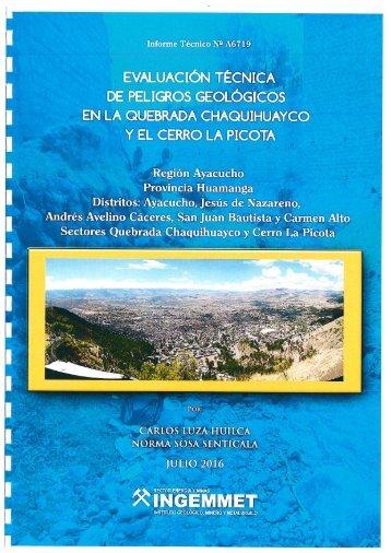 Informe Técnico Evaluación técnica de peligros geológicos en la quebrada Chaquihuayco en el Cerro La Picota