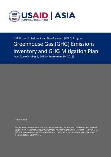 Greenhouse Gas (GHG) Emissions Inventory and GHG Mitigation Plan